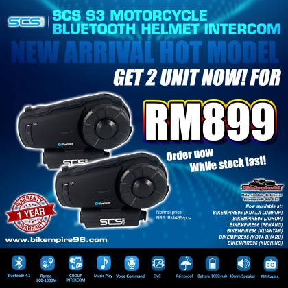 SCS S3 Motorcycle Bluetooth Helmet Intercom