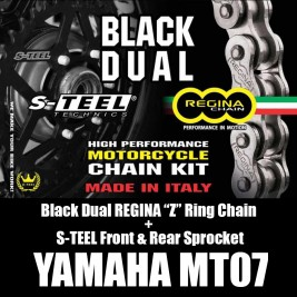 "Yamaha Mt07 Black Dual REGINA ""Z"" Ring Chain + S-TEEL Front & Rear Sprocket"