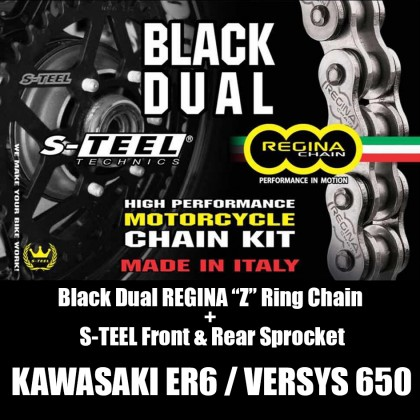 Kawasaki ER6/Versys650 Regina Z-Ring Black Dual Spocket Set