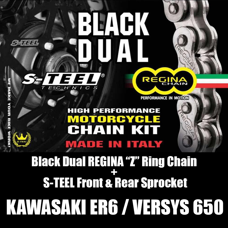Kawasaki Er6versys650 Regina Z Ring Black Dual Spocket Set