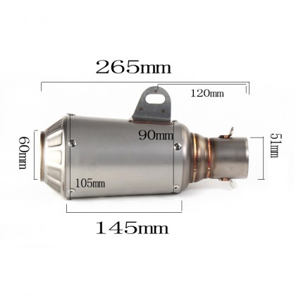 Akra Zero 51mm Muffler SS