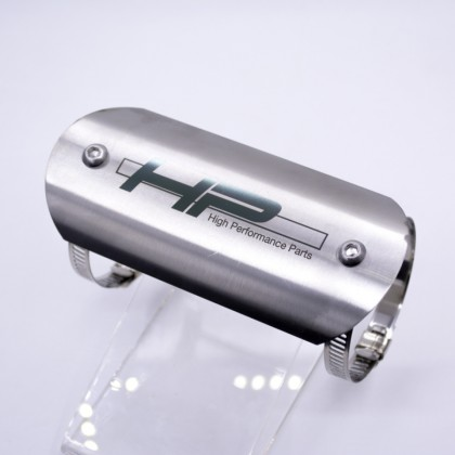 Exhaust Pipe Protector Plate Stainless Steel Silver (Hp Logo)