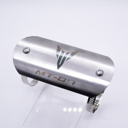 Exhaust Pipe Protector Plate Stainless Steel Silver (Mt07 Logo)